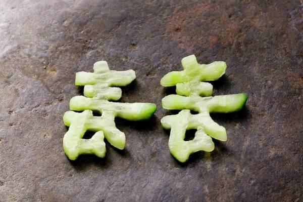 Cucurbits Photograph - Chinese Characters Made From Cucumber by Foodcollection