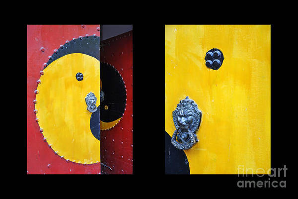 Wall Art - Photograph - Chinese Doors Diptych by Delphimages Photo Creations