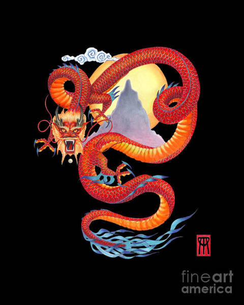 Wall Art - Painting - Chinese Dragon On Black by Melissa A Benson