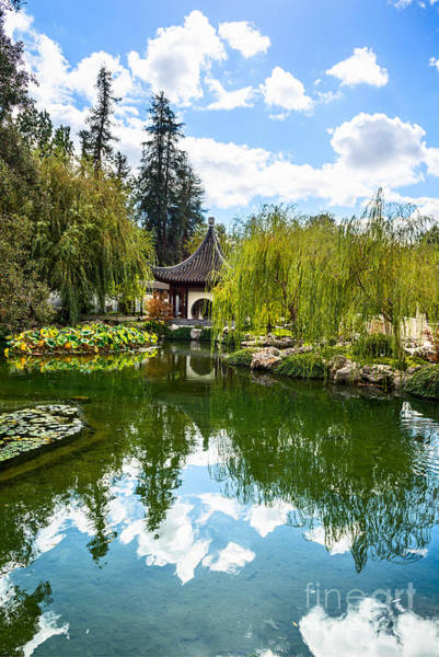 Chinese Pavilion Photograph - Chinese Garden And Sky by Jamie Pham
