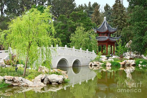 Chinese Pavilion Photograph - Chinese Garden With Stone Bridge And Pagoda by Jamie Pham