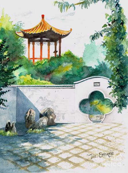 Painting - Chinese Gardens-hamilton Nz by Val Stokes