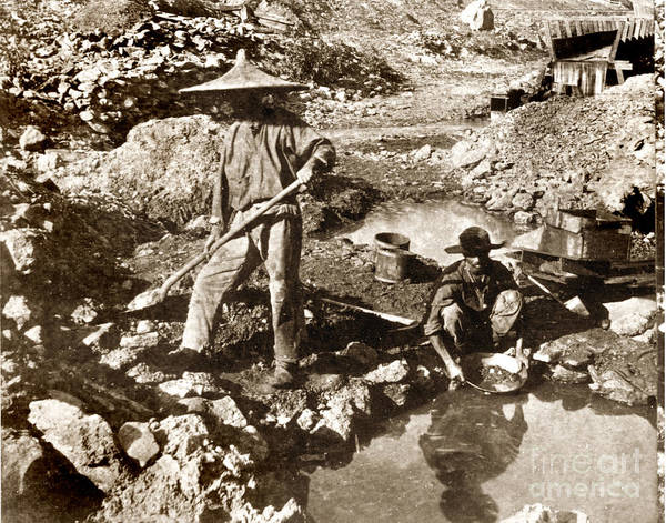 Photograph - Chinese Gold Mine California Circa 1876 by California Views Archives Mr Pat Hathaway Archives
