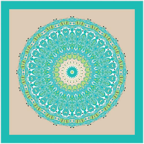 Digital Art - Chinese Kite Teal Mandala by Joy McKenzie