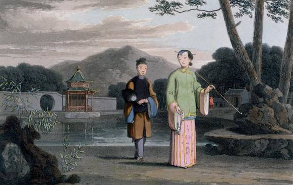 Chinese Drawing - Chinese Lady With Pavilion by Thomas & William Daniell