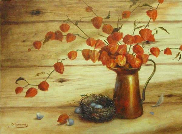 Broken Egg Painting - Chinese Lanterns And Birds Nest by Sharen AK Harris