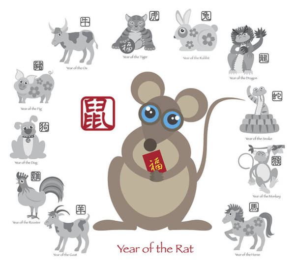 Chinese New Year Rabbit Wall Art - Photograph - Chinese New Year Rat Color With Twelve Zodiacs Illustration by Jit Lim