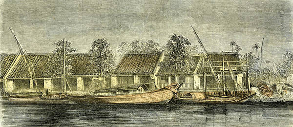Vietnam Drawing - Chinese Part Of Saigon Vietnam 19th Century by English School