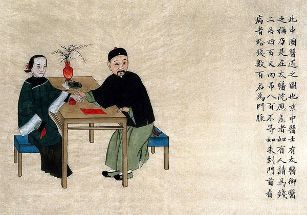 Tcm Wall Art - Painting - Chinese Physician Taking Radial Pulse by Wellcome Images
