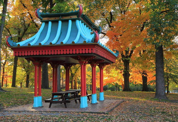 Chinese Pavilion Photograph - Chinese Shelter In Autumn by Scott Rackers