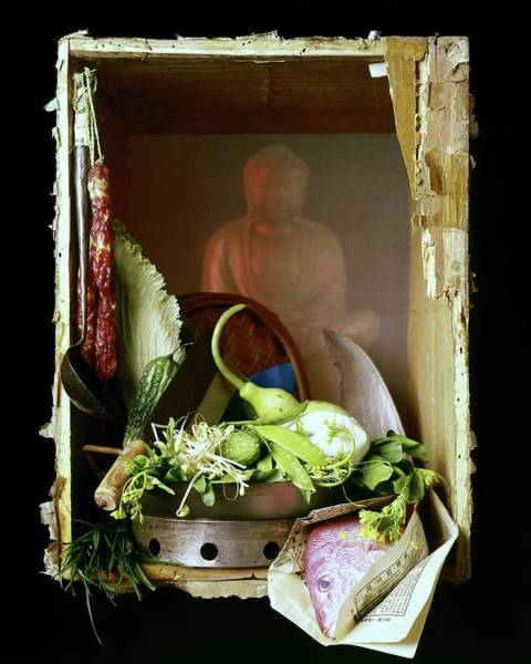 Chinese Food Photograph - Chinese Statue With Cooking Items by Fotiades