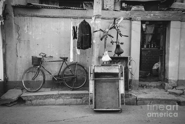 Wall Art - Photograph - Chinese Still Life With Bicycles And Laundry by Dean Harte