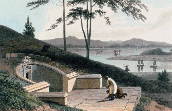 Stone Drawing - Chinese Tomb With Two Mourners by Thomas & William Daniell