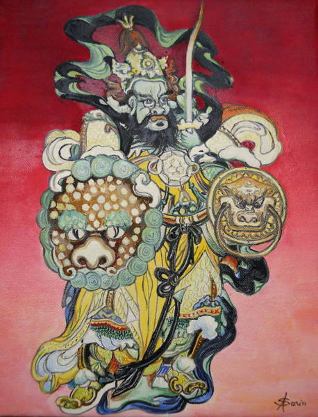 Acrilic Painting - Chinese Warrior by Sorin Apostolescu