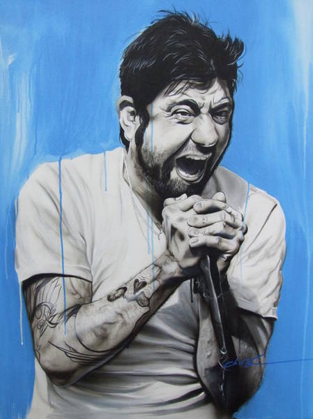 Monochrome Painting - Chino Moreno by Christian Chapman Art