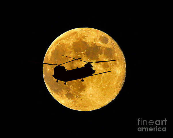 National Guard Photograph - Chinook Moon Color by Al Powell Photography USA