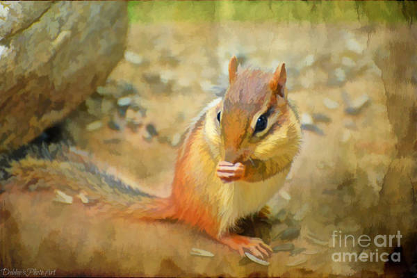 Munk Wall Art - Photograph - Chipmonk - Digital Paint I by Debbie Portwood