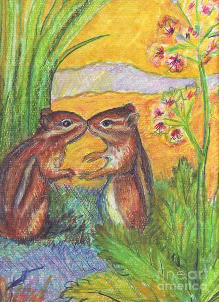 Wall Art - Painting - chipmunks in Spring by Susan Brown    Slizys art signature name