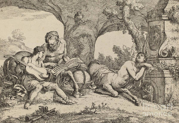 Wall Art - Drawing - Chiron Teaching Music To Achilles by Indian Summer