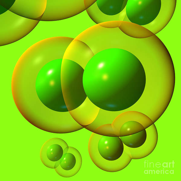 Digital Art - Chlorine Molecule 1 Green by Russell Kightley
