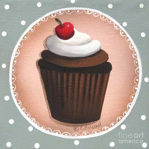 Icing Painting - Chocolate Cherry Chip Cupcake by Catherine Holman