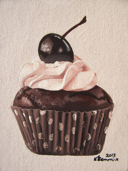 Whipped Cream Painting - Chocolate Cherry Cupcake by Kayleigh Semeniuk