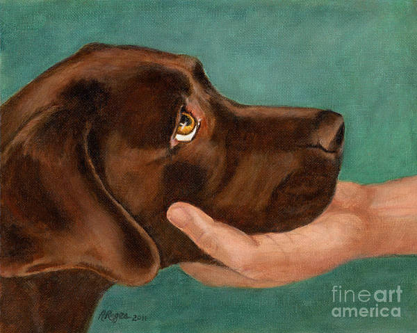 Green Eye Painting - Chocolate Lab Head In Hand by Amy Reges