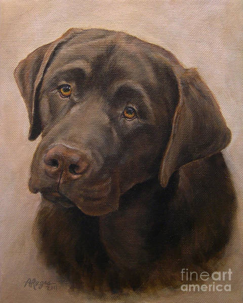 Liver Painting - Chocolate Labrador Retriever Portrait by Amy Reges