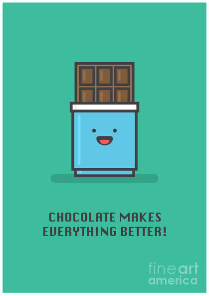 Chocolate Digital Art - Chocolate Makes Everything Better Line by Orange Vectors