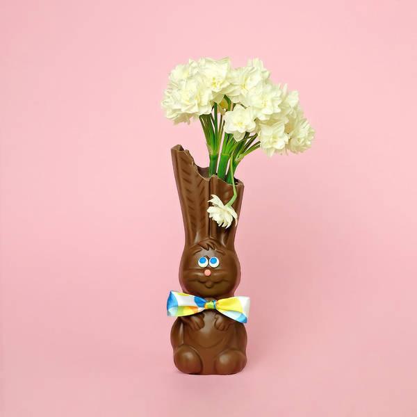 Photograph - Chocolate Rabbit Vase With Flowers by Juj Winn
