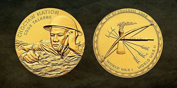 Code Talkers Photograph - Choctaw Nation Tribe Code Talkers Bronze Medal Art by Movie Poster Prints