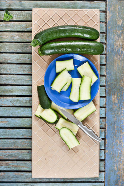 Blades Photograph - Chopped Courgette by Tom Gowanlock