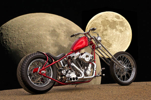 Chopper Photograph - Chopper Two Moons by Dave Koontz