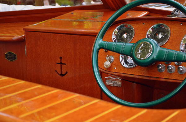 Motor Boat Photograph - Chris Craft Cockpit by Michelle Calkins
