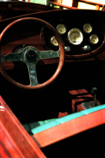 Photograph - Chris Craft Interior With Gauges by Michelle Calkins