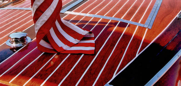 Motor Boat Photograph - Chris Craft With American Flag by Michelle Calkins