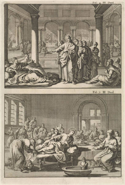 Healing Drawing - Christ And His Disciples At The Bathhouse Of Siloam by Jan Luyken And Willem Broedelet