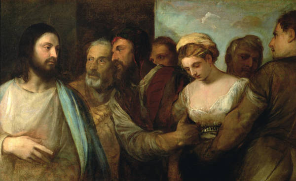 Renaissance Photograph - Christ And The Adulteress, 1512-15 by Titian