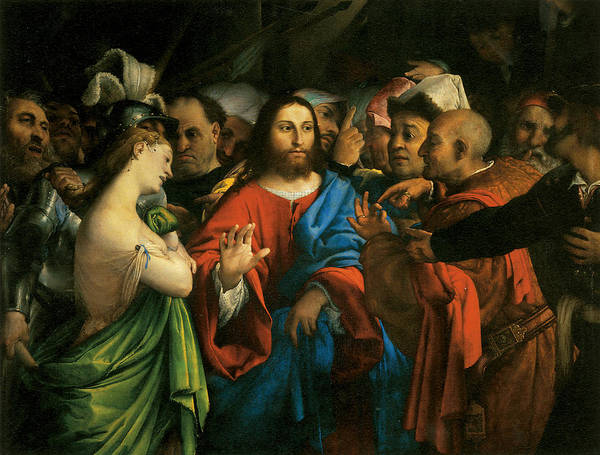 Adultry Wall Art - Painting - Christ And The Adultress by Lorenzo Lotto