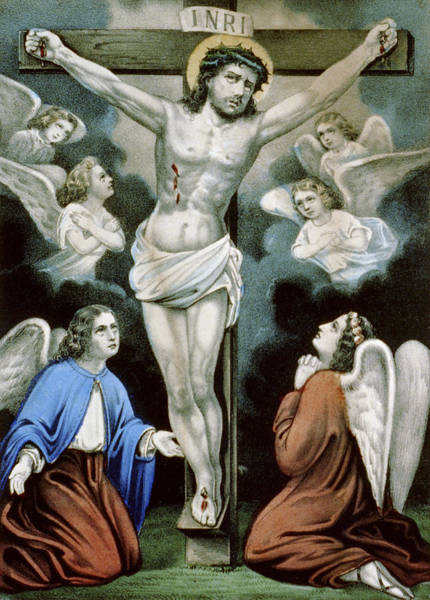 Crucifiction Wall Art - Painting - Christ And The Angels Circa 1856 by Aged Pixel