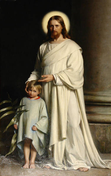 Gods Children Wall Art - Painting - Christ And The Child by Carl Bloch