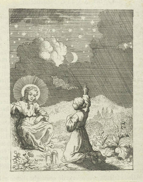 Christ And The Personified Soul Contemplate The Starry Sky Art Print