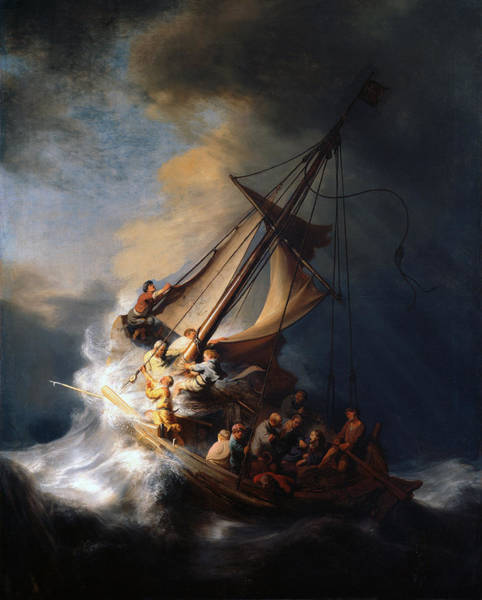 Apostles Wall Art - Painting - Christ And The Storm by Rembrandt
