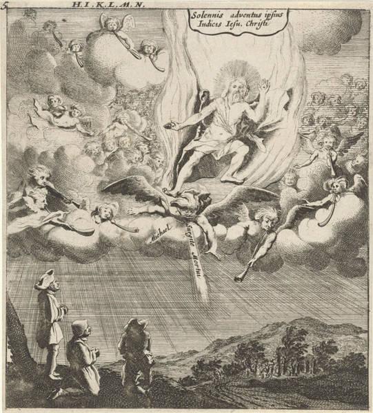 Judgement Wall Art - Drawing - Christ Appears In The Sky, Print Maker Gillis Van Scheyndel by Gillis Van Scheyndel I And Gerhard Verstegen