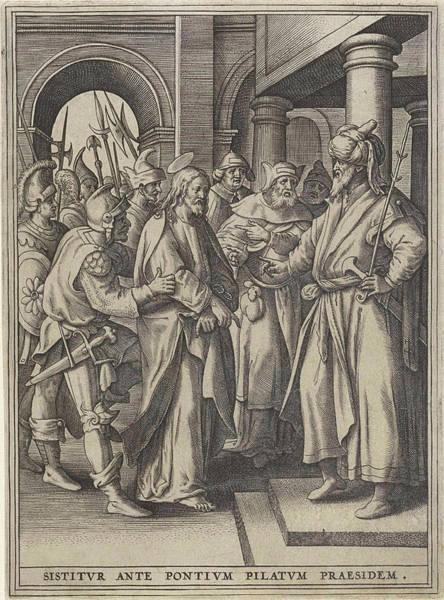 Pontius Pilate Wall Art - Drawing - Christ Before Pilate, Hieronymus Wierix, Maerten De Vos by Hieronymus Wierix And Maerten De Vos And Hans Van Luyck