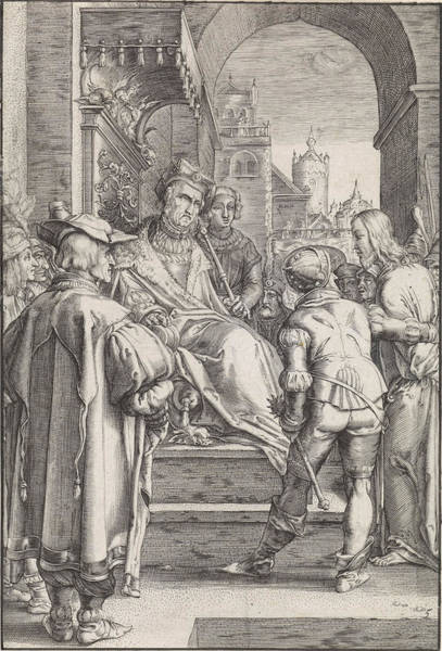 Pontius Pilate Wall Art - Drawing - Christ Before Pilate, Ludovicus Siceram, Hendrick Goltzius by Ludovicus Siceram And Hendrick Goltzius