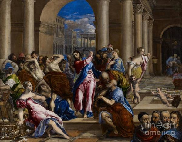 Giulio Painting - Christ Driving The Money Changers From The Temple by El Greco