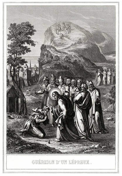 Heal Photograph - Christ Healing A Leper by National Library Of Medicine