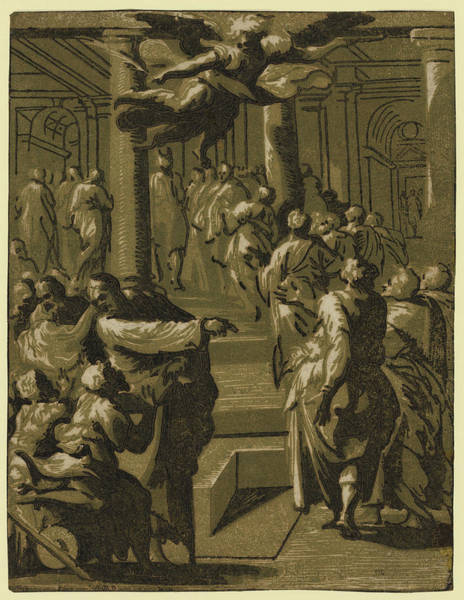 Healing Drawing - Christ Healing The Paralytic Man by Vicentino, Giuseppe Niccol?, Called Rospigliosi (born C. 1510), Italian