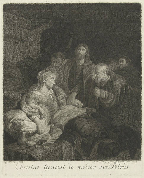 Healing Drawing - Christ Heals The Mother Of Peter, Johannes Pieter De Frey by Johannes Pieter De Frey